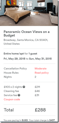Airbnb Santa Monica rental May2015