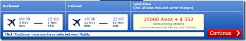 Avios KUL-PER 25000   $352