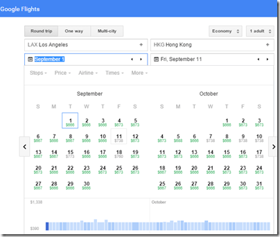 Google Flights LAX-HKG calendar Oct 15