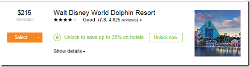Kayak WDW Dolphin Unlock rate