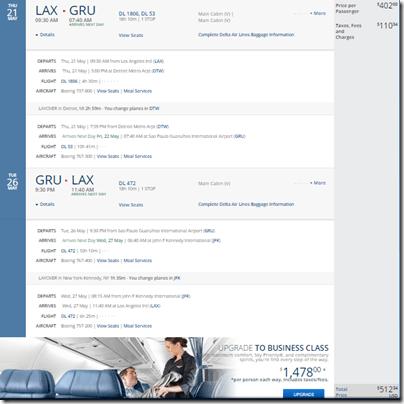 LAX-GRU $513 DL May 15