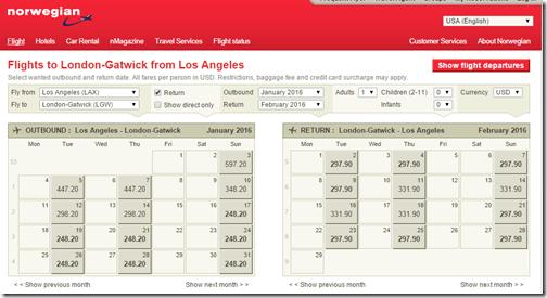 LAX-LGW $546 Norwegian Jan16
