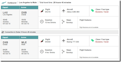 LAX-MLE $1,109 Emirates