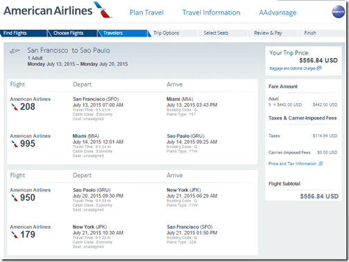 SFO-GRU $557 AA July15