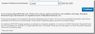 Wyndham Buy 5000points