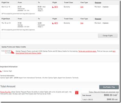 YVR-SYD Qantas $820 July