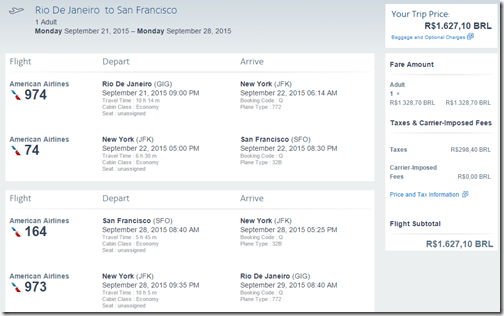 GIG-SFO $529 AA Sep 15
