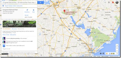 Google Maps Congaree NP-2