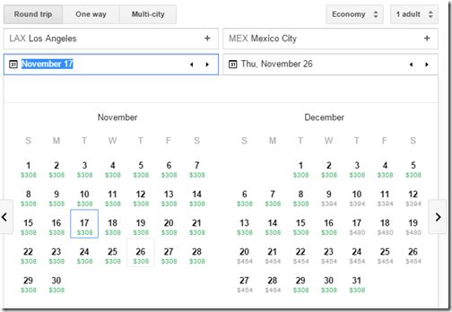 Google flights LAX-MEX $308 Nov15