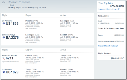 PHX-LGW AA $705 July 2015