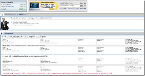 SFO-AUA UA $317 July15
