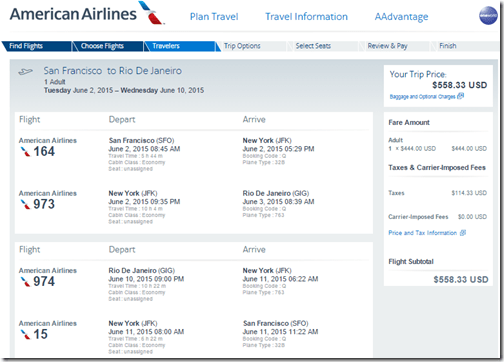 SFO-GIG $558 AA June 2010