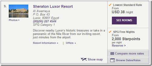 Sheraton Luxor $38
