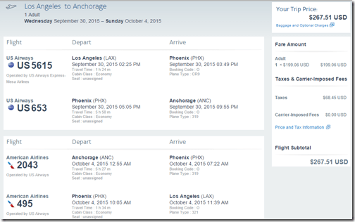 LAX-ANC AA $268 Sep30-Oct 4