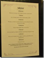 Clarion Dinner menu