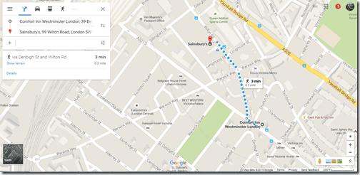 Google Maps Comfort Inn to Sainsburys