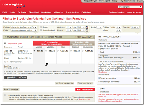 OAK-ARN $160 ow Jan 22 Norwegian