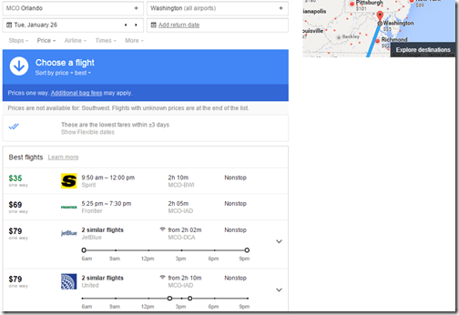 Google Flights MCO-BWI airlines Jan 26