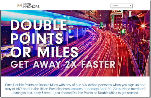 HHonors Double Points or Miles 2016-Q1