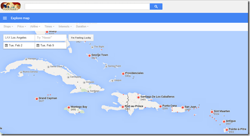 Google Flights Caribbean LAX Feb2-9