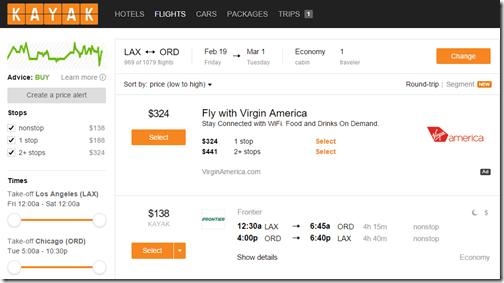 Kayak LAX-ORD $138