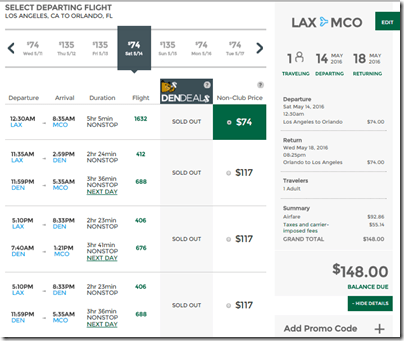 LAX-MCO Frontier May 14-18 $148