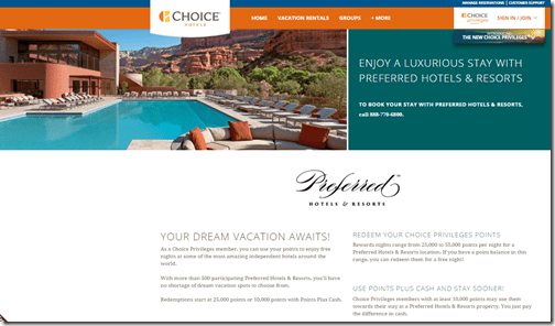 Choice Privileges Preferred Hotels webpage