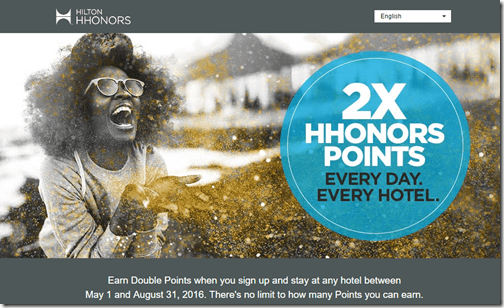 HHonors 2x points May1-Aug31-2016