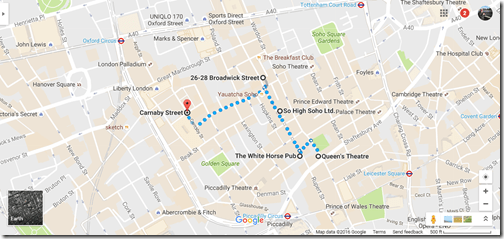 London Soho Google maps walk