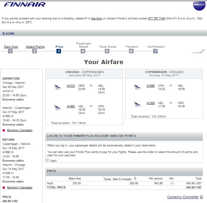 Aa Or Finnair Ticket Aadvantage 400 Chicago To