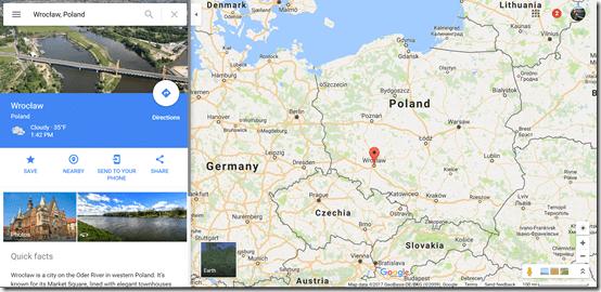 Wroclaw Google maps