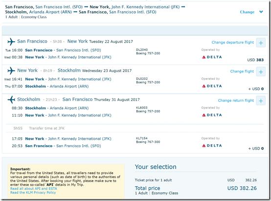 SFO-ARN $382 KL Aug23-31