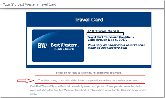 BW Rewards travel card fine print