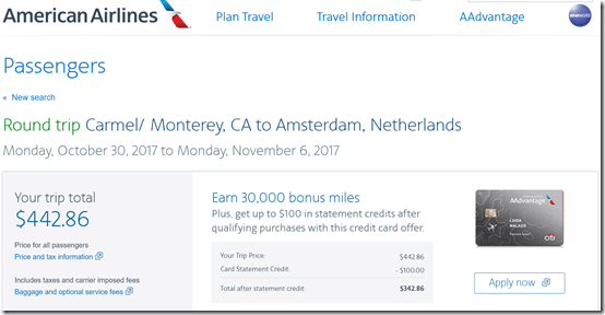 MRY-AMS $443 AAticket price