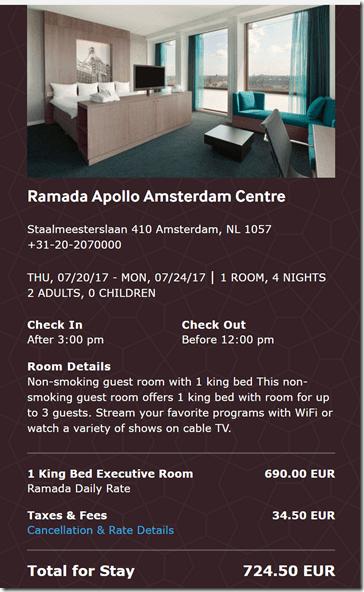 Ramada Amsterdam 7-20 4 night rate