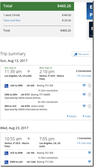 LAX-VCE $460 UA Aug13-23
