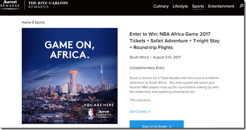Marriott Rewards NBA Africa Safari sweepstakes
