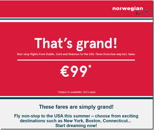 Norwegian 99EUR July fares Ireland-PVD