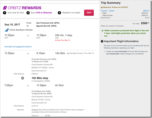 SFO-DPS $570 ChinaSouth Sep10-21