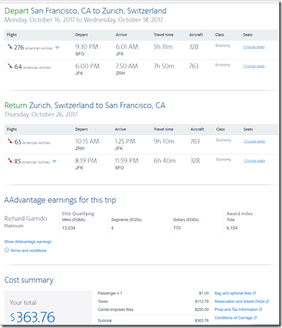 SFO-ZRH $364 AA Oct16-26
