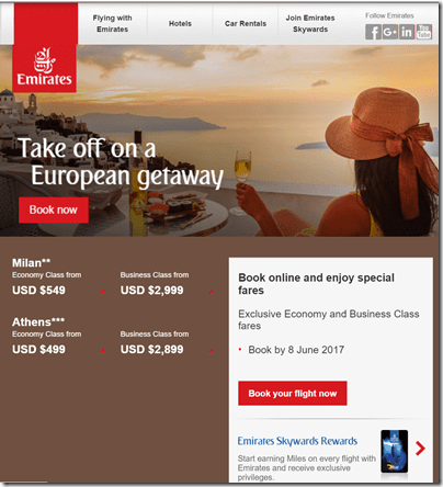 Emirates summer 2017 sale