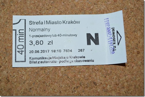 Krakow tram ticket