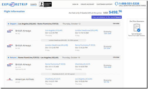 LAX-FCO $499 ExploreTrip Oct12-19