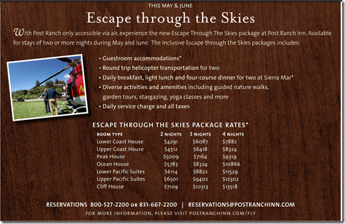 Post Ranch Inn Fly Package