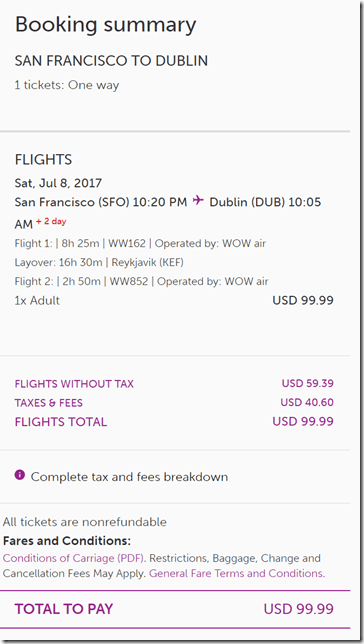 SFO-DUB $99ow WOW Jul8