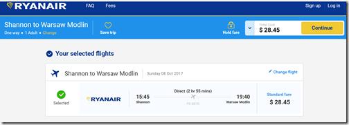 SNN-WMI Warsaw $29 Ryanair Oct8