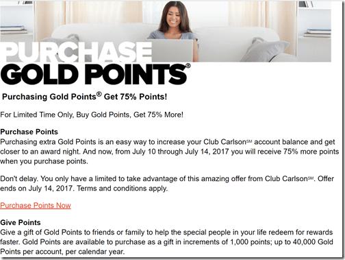 Club Carlson 75% bonus to July14