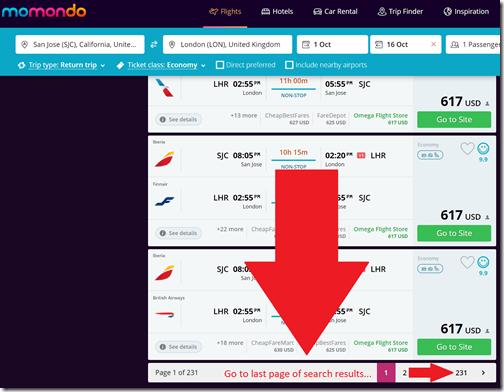Momondo.com flight pages 1