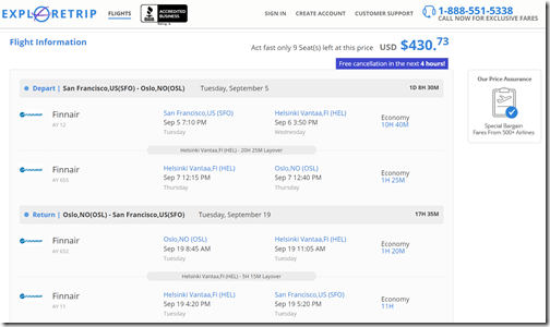 SFO-OSL $431 xHEL Sep5-19