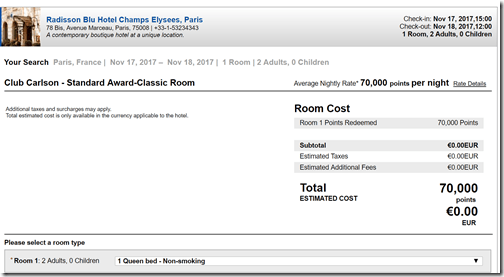 Club Carlson Paris elysee standard Nov17